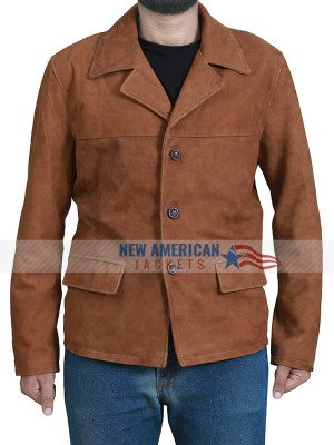 Brown Suede Leather Jacket for Men