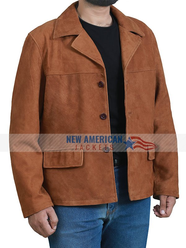 Mens Casual Real Suede Leather Jacket