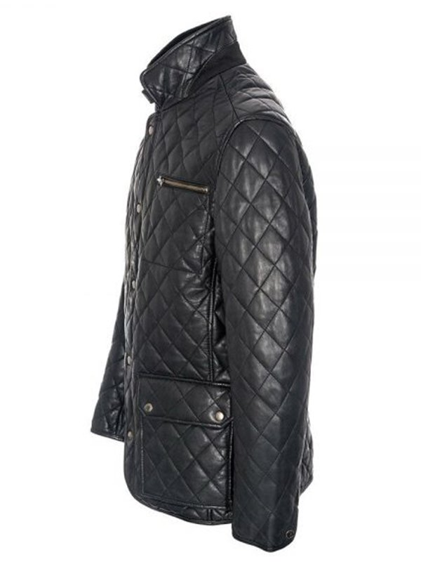 Men's Cross Stitch Black Quilted Jacket