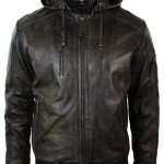 Men's Dark Brown Hooded Leather Jacket