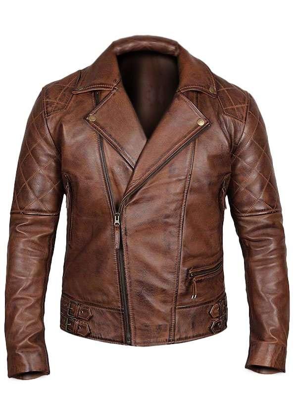 Men's Diamand Classic Distressed Leather Biker Jacket