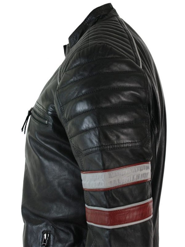 Men's Motorcycle Cafe Racer Leather Jacket