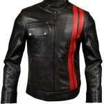 Men's Red Stripes Black Leather Jacket