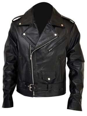 Men's Brando Style Terminator Ii Black Motorcycle Leather Jacket