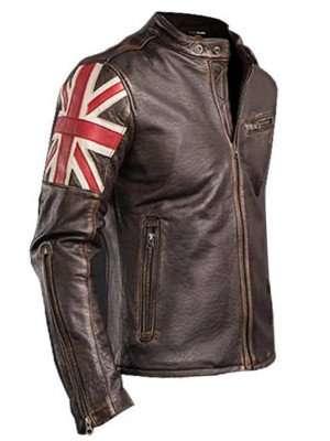 Biker Vintage Cafe Racer Brown Leather Jacket
