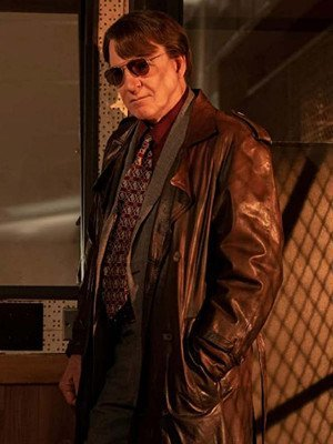 Only Murders in the Building Steve Martin Brown Leather Coat