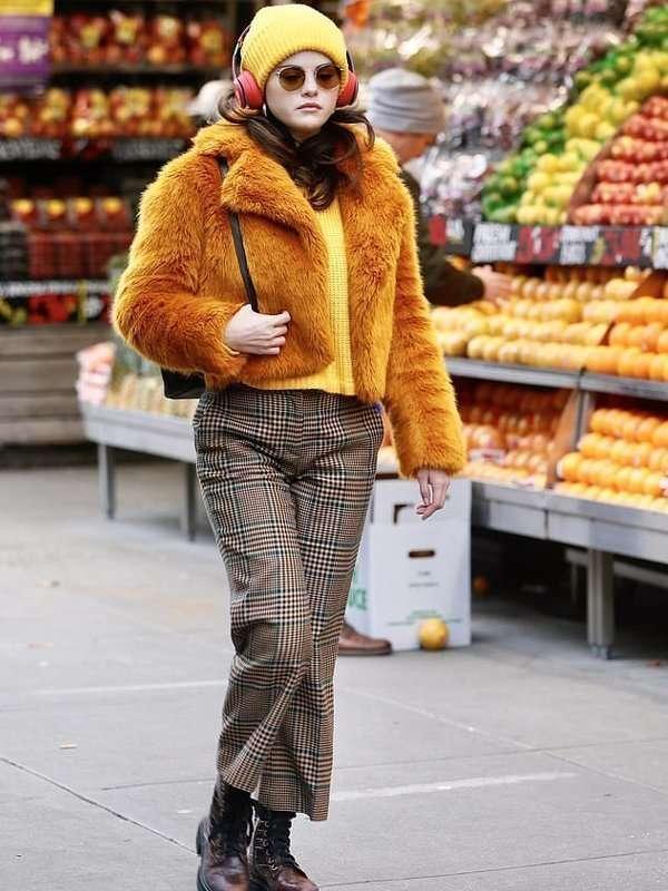 Selena-Gomez-Only-Murders-in-the-Building-Faux-Fur-Orange-Jacket
