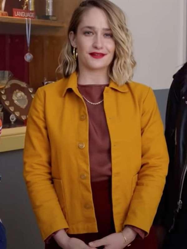 Sex Education Season 03 Jemima Kirke Yellow Jacket