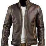 Stylish Cafe Racer Brown Biker Leather Jacket