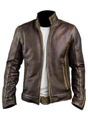 Cafe Racer Stylish Distressed Brown Biker Jacket