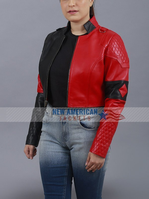 Suicide Squad 2 Harley Quinn Red Leather Jacket