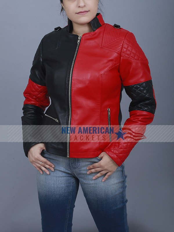 Suicide Squad Cosplay Red Leather Jacket