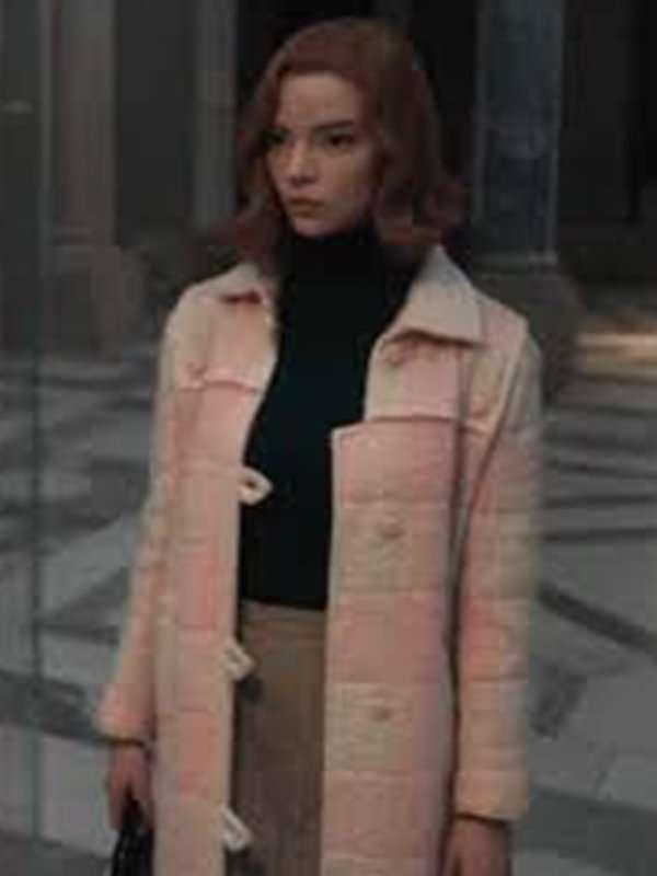 The Queen's Gambit TV Series Beth Harmon Pink Wool Coat