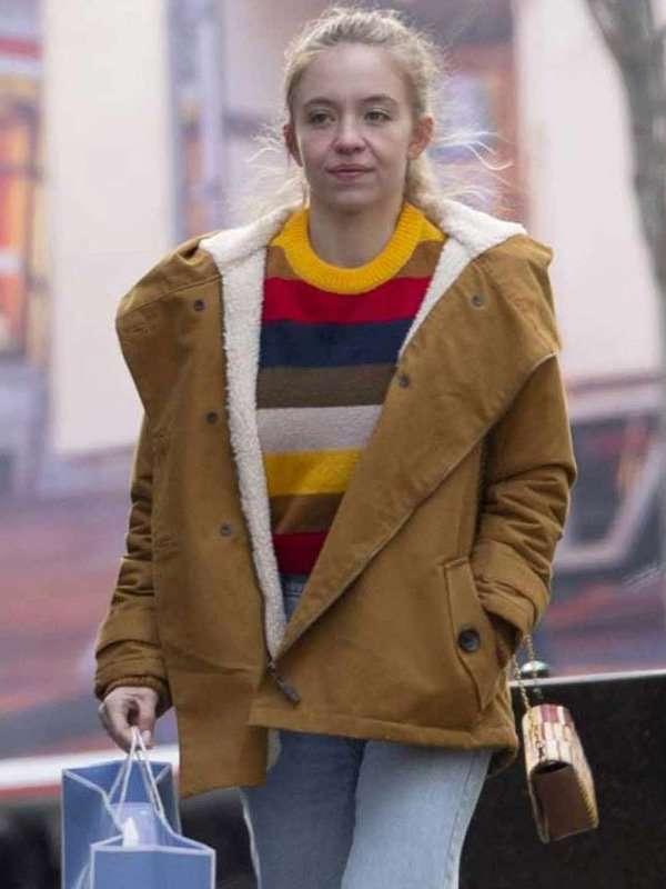The Voyeurs 2021 Pippa Shearling Brown Cotton Jacket