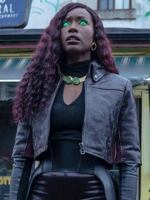 Titans S03 Anna Diop Cropped Leather Jacket