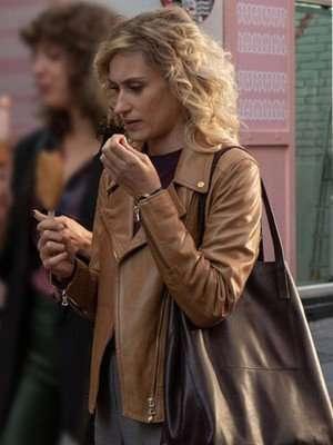 Valeria Season 02 Nerea Biker Brown Leather Jacket