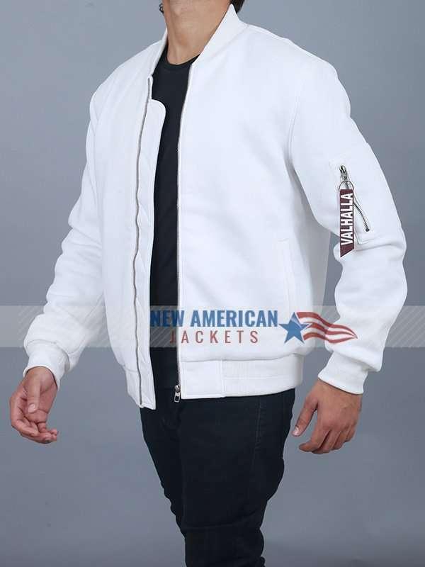 Valhalla White Bomber Jacket