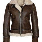Womens Brown Shearling Aviator Leather Jacket