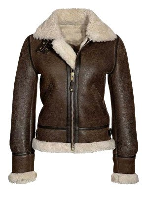 Avaiator Brown Leather Jacket for Womens
