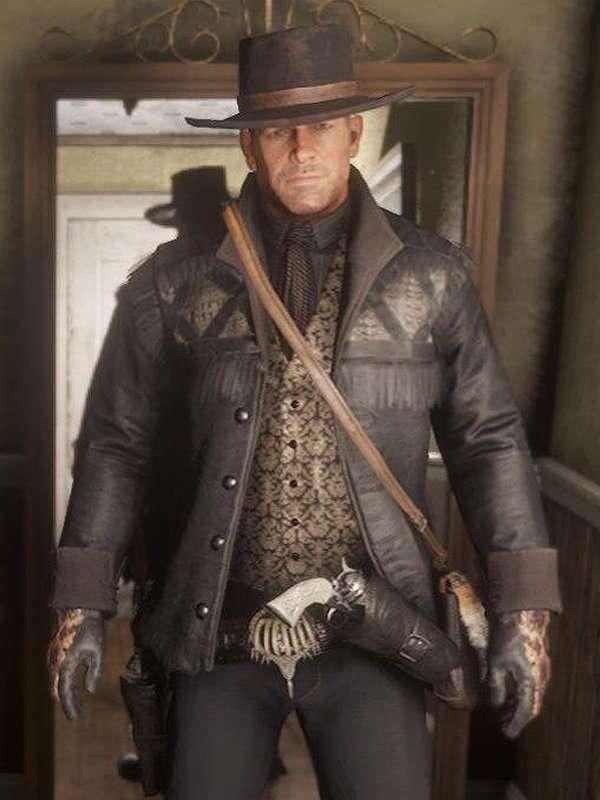Red Dead Redemption 2 Nuevo Paraíso Gunslinger Black Hunting Leather Jacket