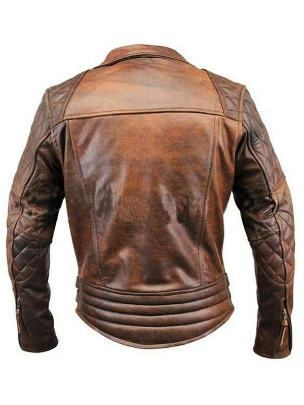 Vintage Cafe Racer Biker Brown Leather Jacket